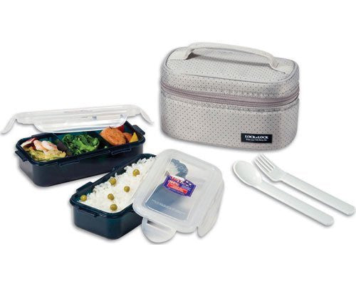 Lock & Lock 24-Oz, Lunch Box Set with BPA Free Food Containers w/ Leak Proof Locking Lids, Gray, Total 2.8-cups