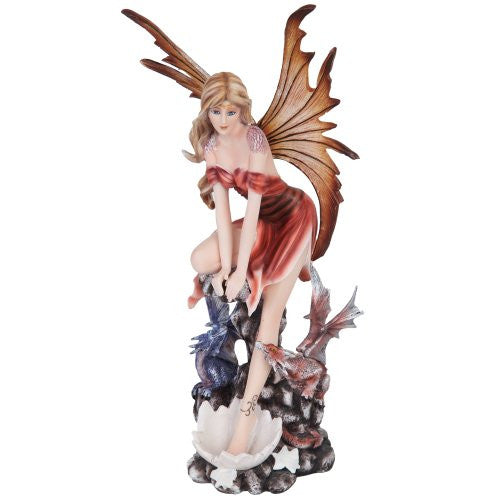 "Fairy with Dragonlings 4 1/2"" X 4 1/2"" 11 1/2"" H"