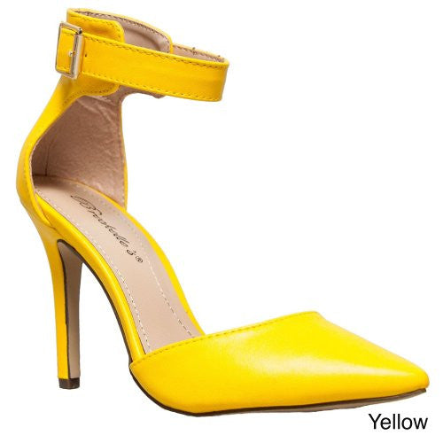 Breckelles Womens Ankle Strap Pointy Toe Heels,7.5 B(M) US,Yellow