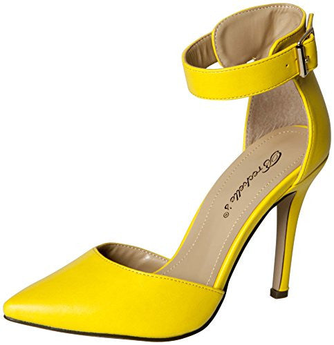 Breckelles Women's Faux Leather Pointed Toe Ankle Strap High Heel Stiletto Pumps (Yellow / 8.5 B(M) US)
