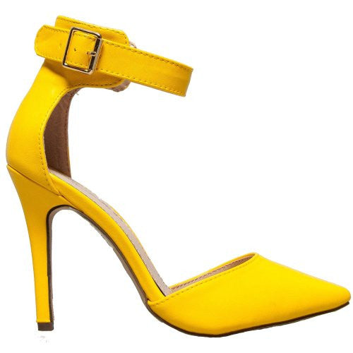 Breckelles Womens Ankle Strap Pointy Toe Heels,5.5 B(M) US,Yellow