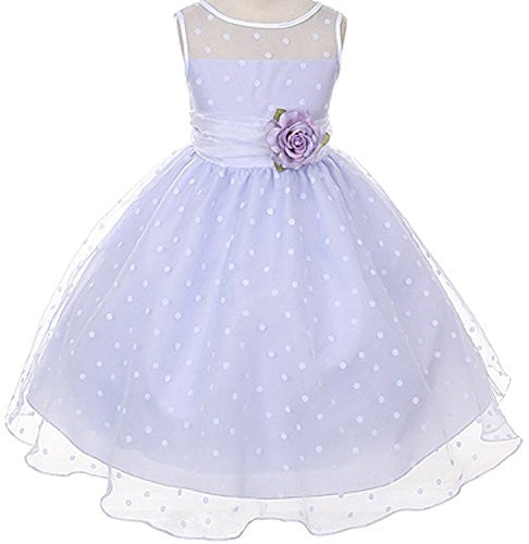 Lovely Organza Polkadot Dress with Sheer Illusion Neckline - Lilac, Size 4