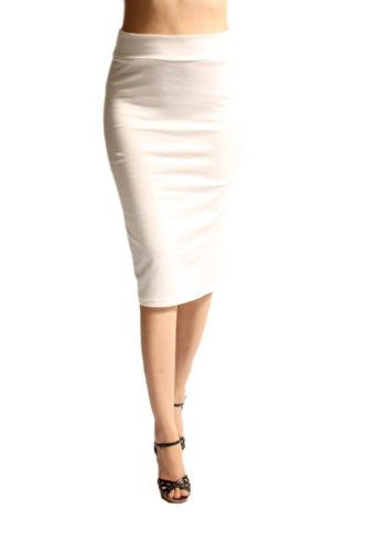Azules Women's below the Knee Pencil Skirt - Made in USA (Ivory / Large)