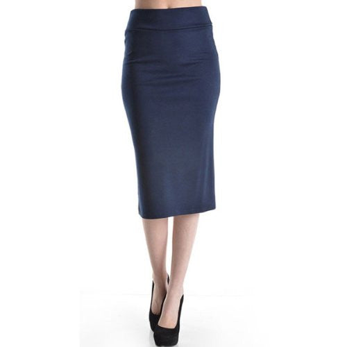 Azules Women's below the Knee Pencil Skirt - Made in USA (Navy blue / Large)