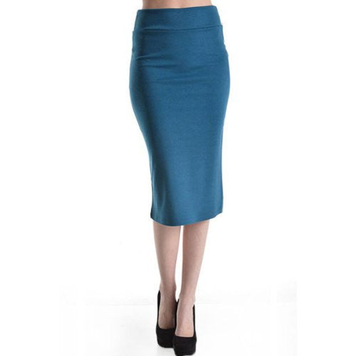 Azules Women's below the Knee Pencil Skirt - Made in USA (Teal / Large)