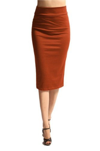 Azules Women's below the Knee Pencil Skirt - Made in USA (Rust / Large)