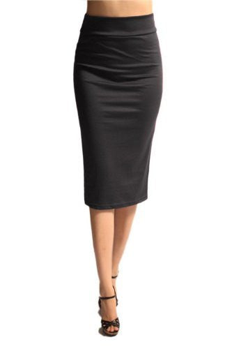 Azules Women's below the Knee Pencil Skirt - Made in USA (Charcoal / Large)