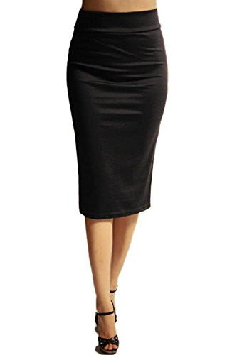 Azules Women's below the Knee Pencil Skirt - Made in USA (Black / Large)
