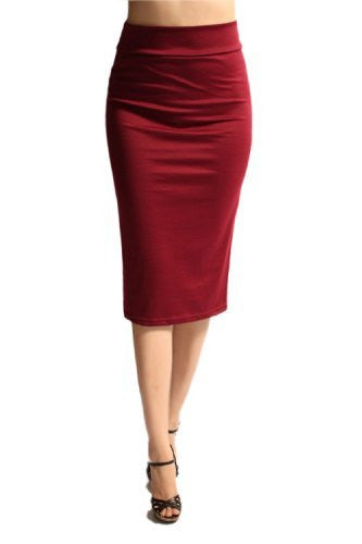 Azules Women's below the Knee Pencil Skirt - Made in USA (Burgundy / Small)