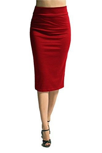 Azules Women's below the Knee Pencil Skirt - Made in USA (Red / X-Large)