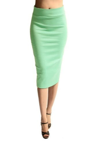 Azules Women's below the Knee Pencil Skirt - Made in USA (Mint / Medium)