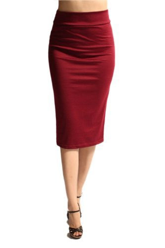Azules Women's below the Knee Pencil Skirt - Made in USA (Burgundy / X-Large)