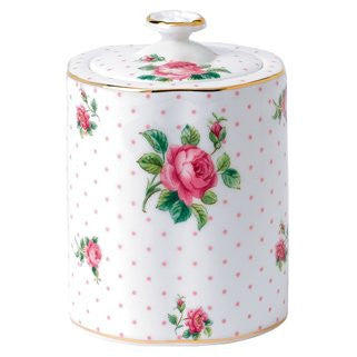 TEA PARTY PINK ROSES TEA CADDY 4.4""