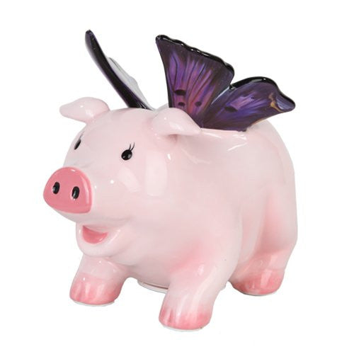 Butterfly Piggy Bank L: 6 1/2""