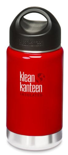 Klean Kanteen Wide Mouth Insulated Water Bottle with Loop Cap,12 Ounces,Sangria Red