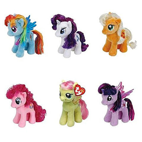 (6 Piece Bundle) Rarity - My Little Pony, 8-Inch and Pinkie Pie - My Little Pony, 8-Inch and Apple Jack - My Little Pony, 8-Inch and Fluttershy - My Little Pony, 8-Inch and Fluttershy - My Little Pony, 8-Inch and Rainbow Dash - My Little Pony, 8-Inch and