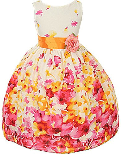 Flower Printed Cotton Dress with a Color Sash - Fuchsia, Size 4