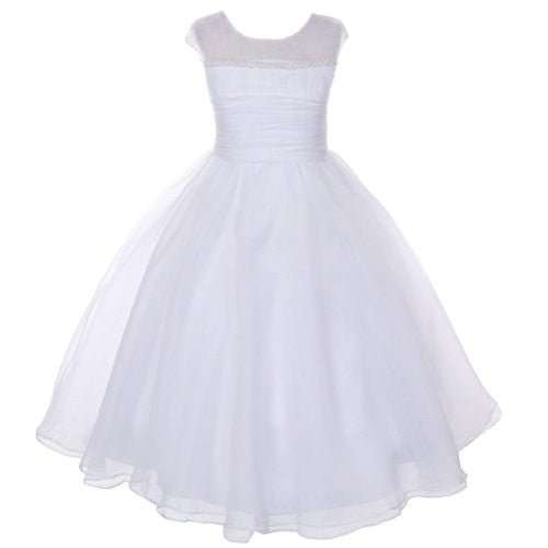 Pearl Trim Satin Dress with Organza Overlay - White, Size 10