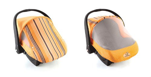 Sun & Bug Cover (spring/summer car seat carrier cover) - Orange Stripe
