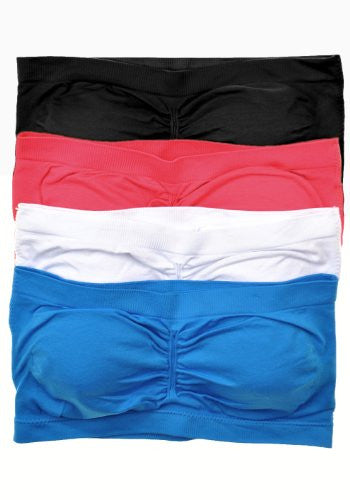 Anenome Women's Strapless Seamless Bandeau Padding (2 or 4 pack),One Size,Coral/White/Blue/Black