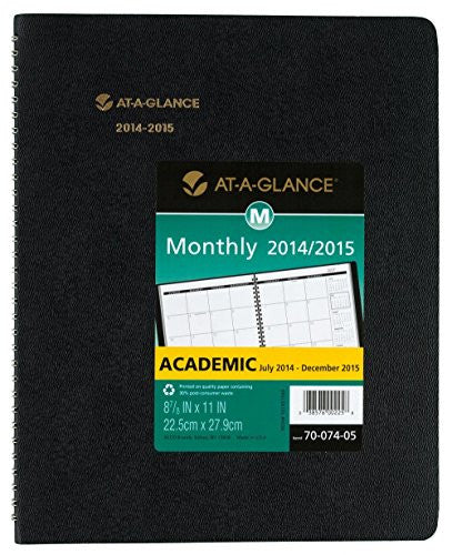 "AT-A-GLANCE 2014/2015 Recycled Monthly Planner, July - December, Black, Desk, 9"" x 11"""