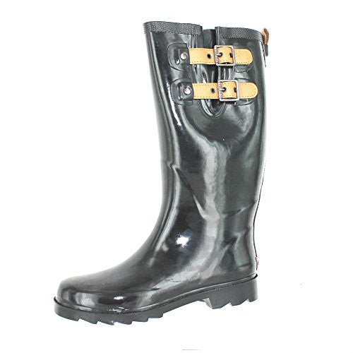 "Women's Chooka Top Solid 14"" Rain Boot Black Shiny Leather Straped Buckles 1011057 6 M US"