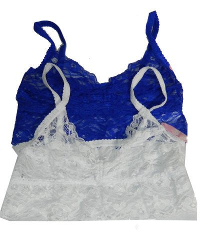 Anemone Women's Lace Elastic Sheer Bralettes (2 Pack),Small/Medium,Royal/White