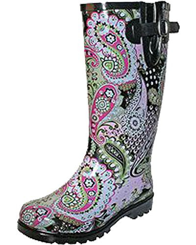 Nomad Women's Puddles Rain Boot,10 B(M) US,Pink/Lime Paisley