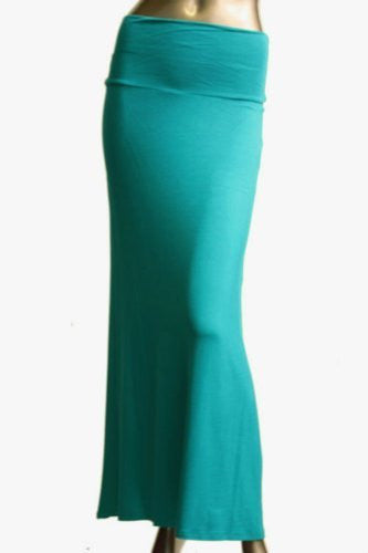 Azules Women's Rayon Span Maxi Skirt (Jade / Medium)