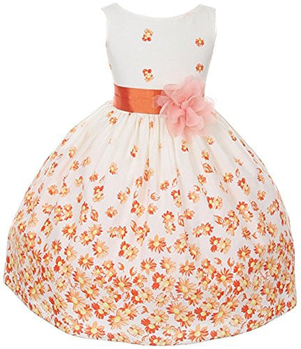 Cotton Floral Daisy Dress - Orange, Size 4