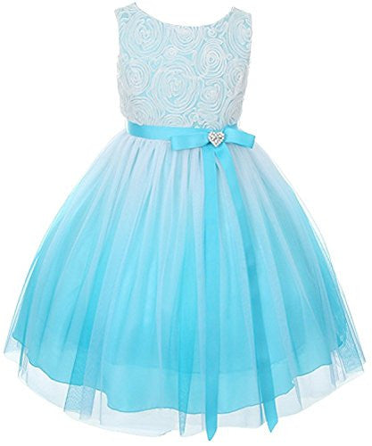 Stunning Ombre Dress with Rosette Top - Aqua, Size 10