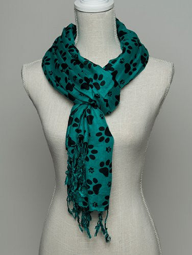 Printed Paws - Green/Black Rayon Scarf