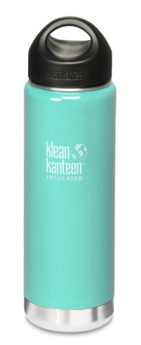 Klean Kanteen Wide Mouth Insulated Water Bottle with Loop Cap,20 Ounces,Glacial Glass