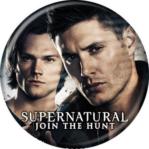 Supernatural Sam and Dean on Grey BUTTONS 1 1/4 in. ROUND