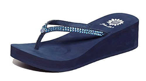 Custard Flip-Flop in Blue, Size 9