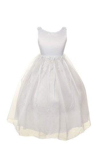 Classic Satin and Organza Dress with Matching Rosebud and Ribbons - White, Size 12
