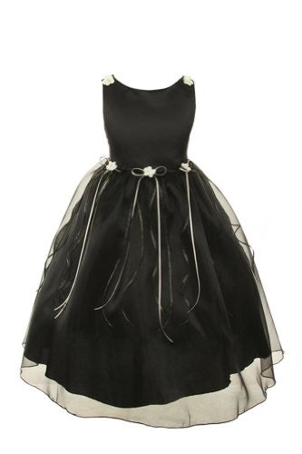Classic Satin and Organza Dress with Matching Rosebud and Ribbons - Black, Size 8