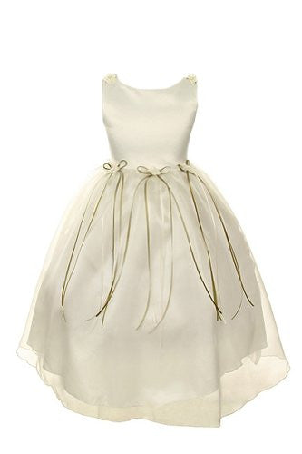 Classic Satin and Organza Dress with Matching Rosebud and Ribbons - Ivory, Size 12