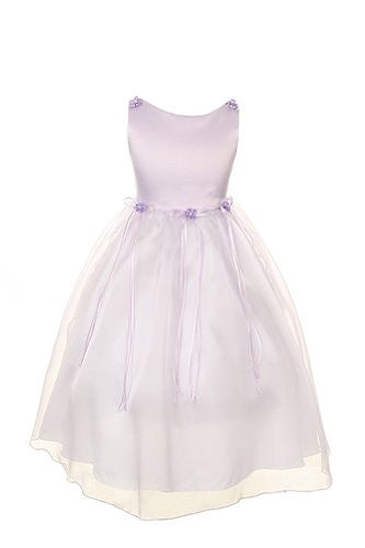 Classic Satin and Organza Dress with Matching Rosebud and Ribbons - Lilac, Size 8