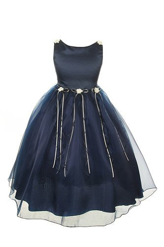 Classic Satin and Organza Dress with Matching Rosebud and Ribbons - Navy Blue, Size 6
