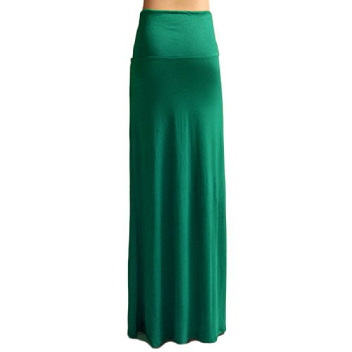 Azules Women's Rayon Span Maxi Skirt (Kelly Green / Large)