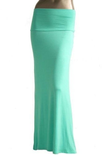 Azules Women's Rayon Span Maxi Skirt (Mint / X-Large)