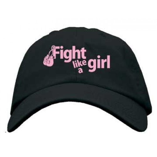 """Fight Like a Girl"" Embroidered Cancer Awareness Black Hat"""