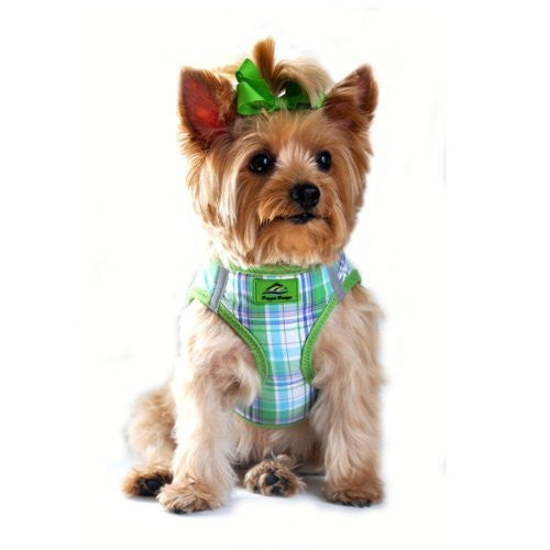 American River Ultra Choke Free Dog Harness, Green & Turquoise Plaid, Small