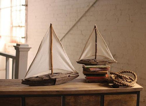Set of Two Driftwood Sailboats with Cotton Sails