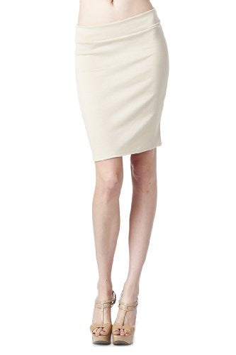 Women'S Ponte Roma From Office Wear to Casual Above Knee Pencil Skirt - Solid (Wheat / Large)