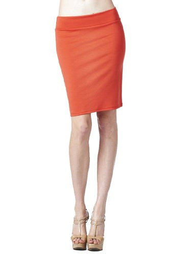 Women'S Ponte Roma From Office Wear to Casual Above Knee Pencil Skirt - Solid (Salmon / X-Large)