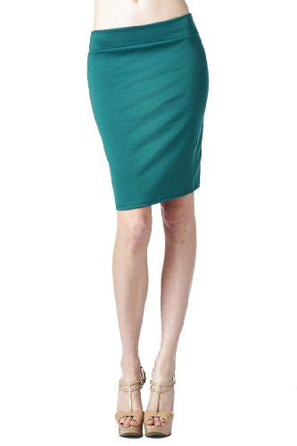 Women'S Ponte Roma From Office Wear to Casual Above Knee Pencil Skirt - Solid (Dark Green / Small)