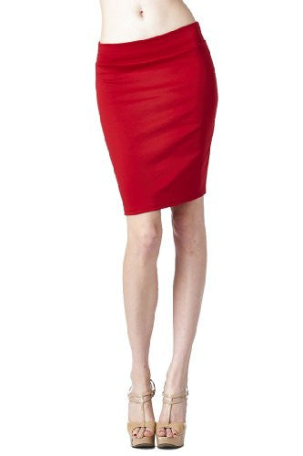 Women'S Ponte Roma From Office Wear to Casual Above Knee Pencil Skirt - Solid (Red / X-Large)
