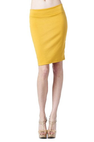 Women'S Ponte Roma From Office Wear to Casual Above Knee Pencil Skirt - Solid (Mustard / X-Large)